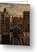 Rooftop View In New York Greeting Cards - Rooftop Color 6 Greeting Card by Scott Kelley