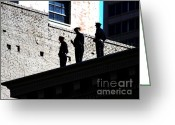 Police Officers Greeting Cards - Rooftop Cops Greeting Card by Wingsdomain Art and Photography