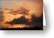 Fire Houses Greeting Cards - Rooftop sunset 3 Greeting Card by Carol Lynch