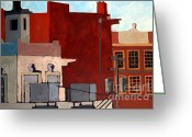 Pull Greeting Cards - Rooftops Greeting Card by Charlie Spear