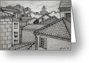 Rooftops Drawings Greeting Cards - Rooftops Greeting Card by Lester Glass