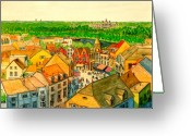 Rooftops Drawings Greeting Cards - Rooftops of Holland Greeting Card by V E Delnore