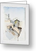 Rooftops Drawings Greeting Cards - Rooftops of Rome Greeting Card by Marie BernardJames