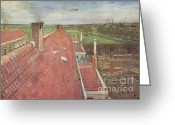 Van Painting Greeting Cards - Rooftops View from the Atelier Greeting Card by Extrospection Art