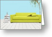 Interior Mixed Media Greeting Cards - Room With Green Sofa Greeting Card by Atiketta Sangasaeng