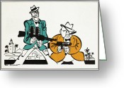 Tommy Gun Greeting Cards - Roosevelt & Churchill, 1942 Greeting Card by Granger