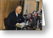Fdr Greeting Cards - Roosevelt: Fireside Chat Greeting Card by Granger