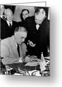 Democrat Party Greeting Cards - Roosevelt Signing Declaration Of War Greeting Card by Photo Researchers