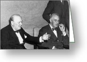 Cigarette Holder Greeting Cards - Roosevelt With Churchill Greeting Card by Granger