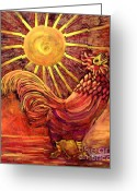 Carolinestreet Greeting Cards - Rooster Batik. Greeting Card by Caroline Street