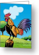 Fence Digital Art Greeting Cards - Rooster Cockerel Cock Crowing Retro Greeting Card by Aloysius Patrimonio