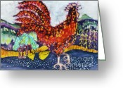 Bright Tapestries - Textiles Greeting Cards - Rooster in the Morning Greeting Card by Carol  Law Conklin