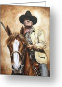 John Wayne Greeting Cards - Rooster Greeting Card by Kim Lockman