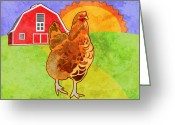 Featured Digital Art Greeting Cards - Rooster Greeting Card by Mary Ogle