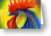 Bright Pastels Greeting Cards - Rooster painting Greeting Card by Svetlana Novikova