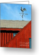 Weathervane Greeting Cards - Rooster Weathervane Greeting Card by Sabrina L Ryan