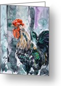 Most Painting Greeting Cards - Rooster  Greeting Card by Zaira Dzhaubaeva