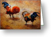 Paper Mixed Media Greeting Cards - Roosters  Scene Greeting Card by Juan Jose Espinoza