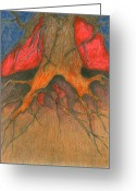 Vibrant Pastels Greeting Cards - Roots Greeting Card by Wojtek Kowalski