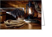 Rancher Greeting Cards - Rope in the Ranch Barn Greeting Card by Olivier Le Queinec