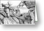 Cowboy Sketches Greeting Cards - Ropin Greeting Card by Jack Schilder