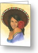 Mexican Pastels Greeting Cards - Rosa Greeting Card by Robert Casilla