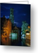 Rosary Greeting Cards - Rosary Quay Is Illuminated With Colored Greeting Card by Luis Marden