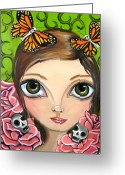 Jaz Greeting Cards - Rose Amongst the Butterflies Greeting Card by Jaz Higgins