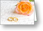 Valentine Greeting Cards - Rose and two rings over handwritten letter Greeting Card by Ulrich Schade