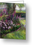 Swans Painting Greeting Cards - Rose Bed and Geese Greeting Card by Timothy Easton