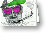 Street Art Drawings Greeting Cards - Rose Colored Glasses Greeting Card by Robert Wolverton Jr
