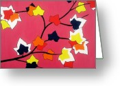 Maple Leaf Greeting Cards - Rose Coloured Glow Greeting Card by Oliver Johnston