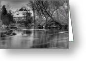 Black And White Barn Greeting Cards - Rose Farm Black and White Greeting Card by Thomas Young
