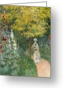 Jardin Painting Greeting Cards - Rose Garden Greeting Card by Claude Monet