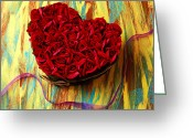 Shaped Greeting Cards - Rose heart and ribbon Greeting Card by Garry Gay