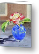 Shine Greeting Cards - Rose in the Blue Vase I Greeting Card by Irina Sztukowski
