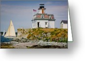 Visitor Greeting Cards - Rose Island Light Greeting Card by Susan Cole Kelly