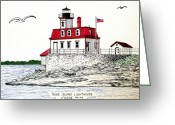 Historic Lighthouse Drawings Greeting Cards - Rose Island Lighthouse Greeting Card by Frederic Kohli