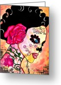 Skull Painting Greeting Cards - Rose Noose Greeting Card by B Marie
