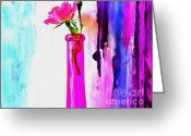 Wrap...floral Greeting Cards - Rose on Abstract Greeting Card by Marsha Heiken