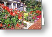Rose Bushes Greeting Cards - Rose Ranch House - Bel-Air Greeting Card by David Lloyd Glover
