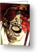 Day Sculpture Greeting Cards - Rose Sugar Skull Mask Greeting Card by Mitza Hurst