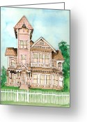 Haunted Home Greeting Cards - Rose Victorian Inn - Arroyo Grande CA 1886 Greeting Card by Arline Wagner