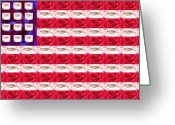 Pledge Of Allegiance Greeting Cards - Rose White and Blue Greeting Card by Anne Cameron Cutri