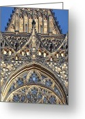 Rose Greeting Cards - Rose Window - Exterior of St Vitus Cathedral Prague Castle Greeting Card by Christine Till