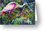 Roseate Spoonbill Greeting Cards - Roseate Spoonbill Greeting Card by Sue Zimmermann