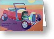 Roadster Greeting Cards - Rosebud Model T Roadster Greeting Card by Evie Cook