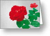 Contemporary Digital Art Greeting Cards - RosePleasure-gray Greeting Card by Eakaluk Pataratrivijit