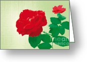 Colorful Digital Art Greeting Cards - RosePleasure-green Greeting Card by Eakaluk Pataratrivijit
