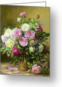 Floor Painting Greeting Cards - Roses  Greeting Card by Albert Williams